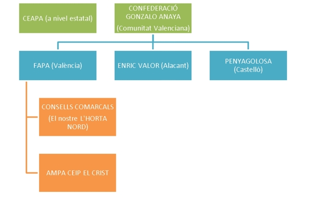 La figura muestra desde el AMPA de un cole puede conseguirse llegar a nivel comarcal, autonómico e incluso estatal.